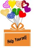 HJÄLP SIG på gåvaasken med mångfärgade hjärtor stock illustrationer
