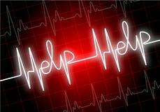 HJÄLP som är skriftlig på röd bildskärm för hjärtahastighet royaltyfri illustrationer