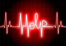 HJÄLP som är skriftlig på röd bildskärm för hjärtahastighet stock illustrationer