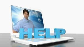 HJÄLPblått 3D att skriva krymper och växer upp på en bärbar datordator; på skärmen finns det en ung man med yrkesmässig blick, på lager videofilmer