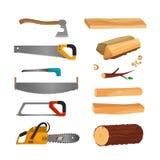 Hjälpmedel för att klippa trä stock illustrationer