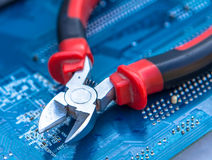 Hjälpmedel för att reparera och att montera datorer Arkivfoton