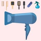 Hjälpmedel för barberare för modehairdress yrkesmässiga stilfulla för att klippa vektorillustrationen vektor illustrationer