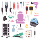 Hjälpmedel för barberare för frisör för mode för symboler för apparater för friseringsalongfrisersalong yrkesmässiga stilfulla fö royaltyfri illustrationer