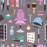 Hjälpmedel för barberare för frisör för mode för symboler för apparater för friseringsalongfrisersalong yrkesmässiga stilfulla fö stock illustrationer
