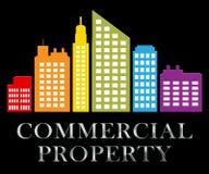 Hjälpmedel för kommersiell egenskap som säljer den Real Estate 3d illustrationen Stock Illustrationer