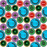 Hjälpmedel för mätning för tidmätare för vektor för klockaklockor numrerar färgrika stoppuren för digital information sömlös mode Royaltyfria Bilder