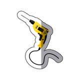 hjälpmedel för symbol för klistermärkegulingdrillborr med bundit stock illustrationer