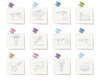 hjälpmedel för symboler för byggnadskonstruktion Arkivbilder