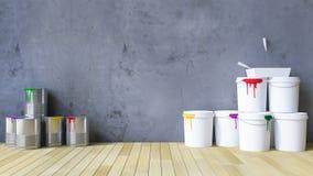 hjälpmedel för tom vägg 3Ds och målning Arkivfoton