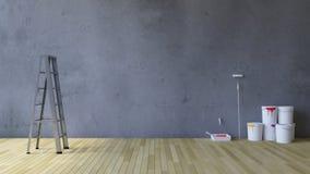 hjälpmedel för tom vägg 3Ds och målning Arkivfoto
