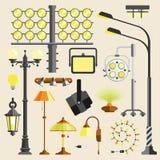 Hjälpmedel för vektor för utrustning för utomhus- och hem- lampor för gata ljust elektriskt vektor illustrationer