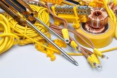 Hjälpmedel och del för elektrisk installation Arkivbild