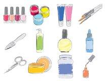 Hjälpmedel och expendables för manicure. Royaltyfri Foto
