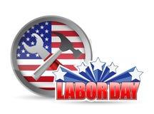Hjälpmedel och flaggan för arbetare för arbets- dag för USA undertecknar lyckliga Royaltyfria Bilder