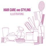 Hjälpmedel och produkter för håromsorg royaltyfri illustrationer