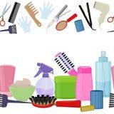 Hjälpmedel och produkter för håromsorg stock illustrationer