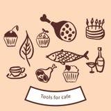 Hjälpmedel och symboler för kafé Stock Illustrationer