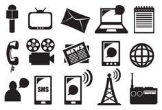 Hjälpmedel och utrustning för massmedia och uppsättning för kommunikationsvektorsymbol Arkivbilder