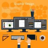 Hjälpmedelbegrepp för grafisk design och formgivare stock illustrationer