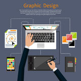 Hjälpmedelbegrepp för grafisk design och formgivare royaltyfri illustrationer