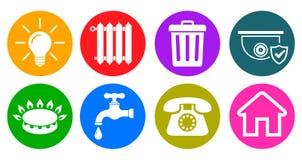 Hjälpmedelsymboler i plan stil: vatten gas, belysning, uppvärmning, telefon, avfalls, säkerhets—vektor royaltyfri illustrationer
