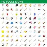 100 hjälpmedelsymboler uppsättning, tecknad filmstil Arkivfoton
