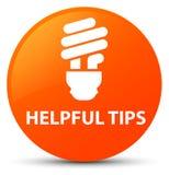 Hjälpsam för apelsinrunda för spetsar (kulasymbol) knapp stock illustrationer