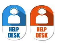 Hjälpskrivbord med hörlurar med mikrofontecknet, två ellipsformiga etiketter Royaltyfri Bild