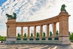 Hjältar Fyrkant-är en av de viktiga fyrkanterna i Budapest, Ungern, Arkivbild
