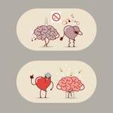 Hjärn- och hjärtauppsättningen Det är dåligt att röka, en hjärtinfarkt Royaltyfri Foto