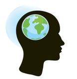 Hjärn- och jordklotbegrepp Royaltyfria Bilder