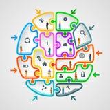 Hjärna av pussel med arbetare vektor illustrationer