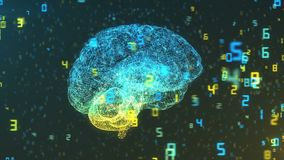 Hjärna för Digital dator och svävanummer - stor data och statistik stock illustrationer