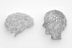 Hjärna för konstgjord intelligens Arkivfoto