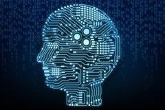 Hjärna för konstgjord intelligens Arkivbilder