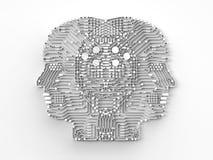 Hjärna för konstgjord intelligens Arkivfoton