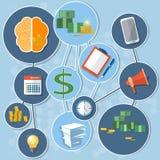 Hjärna för pengar för jobb för arbete för kontor för affärsidéfinansinvestering stock illustrationer