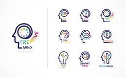 Hjärna, idérik menings-, lära och designsymbol Manhuvud, folksymbol stock illustrationer