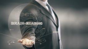 Hjärna-läsning med hologramaffärsmanbegrepp stock illustrationer