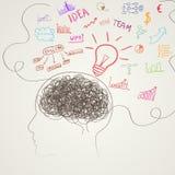 Hjärna med affärssymboler vektor vektor illustrationer