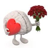 Hjärna med armar, benet, gruppen av rosor och röd hjärta på händer Royaltyfria Foton