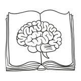Hjärna med boken illustration Fotografering för Bildbyråer