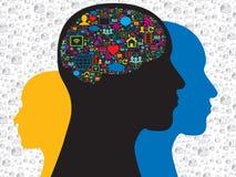 Hjärna med sociala massmediasymboler stock illustrationer