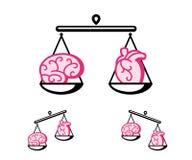 Hjärna och hjärta på våg royaltyfri illustrationer