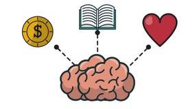 Hjärna och kunskap stock illustrationer