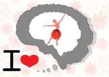 Hjärna och mening med flickan Arkivfoto