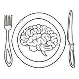 Hjärna på en platta Arkivfoto