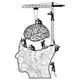Hjärna under konstruktionsbegrepp Arkivfoto
