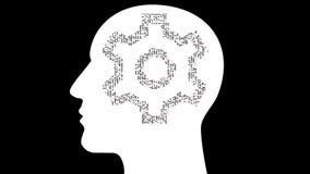hjärnan för intelligens för AI för kugghjulet för elektronen för brädet för strömkretsen 4k tänker den mänskliga, folk vetenskap vektor illustrationer